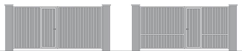 Распашные ворота из профнастила с встроенной калиткой