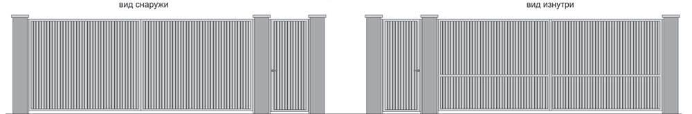 Ворота распашные и калитка с двухсторонней обшивкой