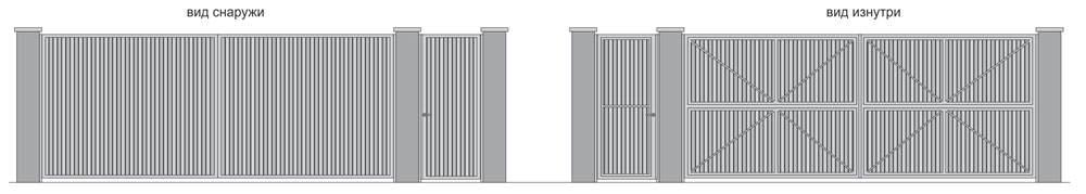 Ворота распашные и калитка с односторонней обшивкой